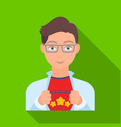 Superman single icon in flat style superman vector