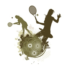 Tennis girl silhouettes vector