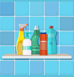 the bottles of detergent washing powder vector image