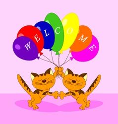 the cats with balloons vector image