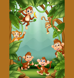 the little monkeys happy in jungle vector image