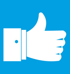 Thumb up gesture icon white vector