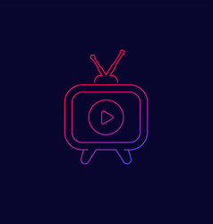 Tv with antenna icon line vector