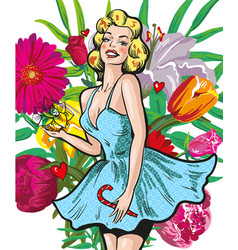 Vintage style young lady with flowers art vector