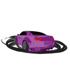 Violet cartoon sport car back view vector image