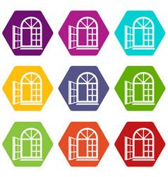 Window frame icons set 9 vector
