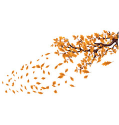 yellow autumn branch of a large oak tree with vector image