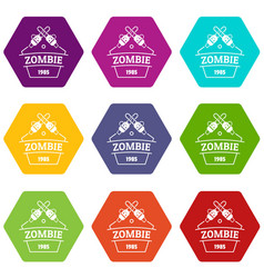 Zombie attack icons set 9 vector