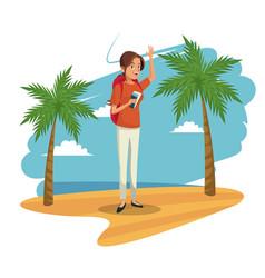 Beauty woman tourist beach landscape image vector