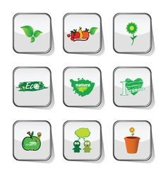 eco icon green on sticker vector image vector image