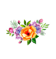 hand painted watercolor floral bouquet vector image vector image
