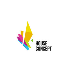 isolated colorful real estate agency logo house vector image vector image
