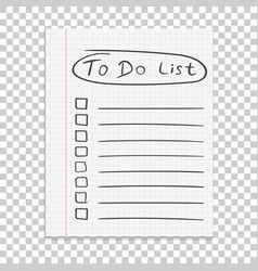 Realistic paper note to do list icon with hand vector