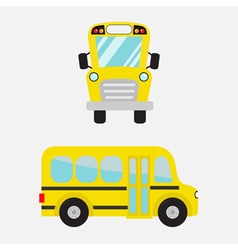 Yellow school bus set Cartoon clipart vector image