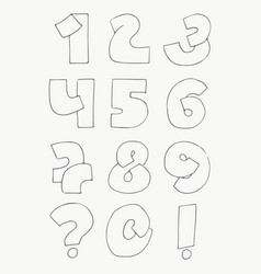 2d hand drawn numbers from 1 to 0 in simple vector image vector image