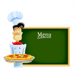Cook with pizza and menu vector
