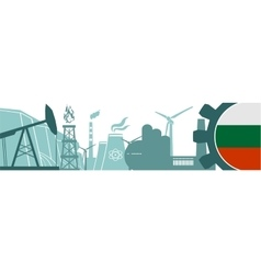 Energy and power icons set bulgaria flag vector