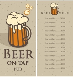 menu with picture beer glass vector image vector image