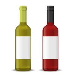realistic detailed 3d wine bottles set vector image