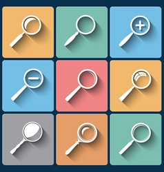 Set of magnifier lens icons in flat design vector image vector image