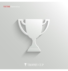 Trophy cup icon - white app button vector image vector image
