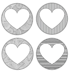 Uncolored heart shaped frame in zen art style with vector