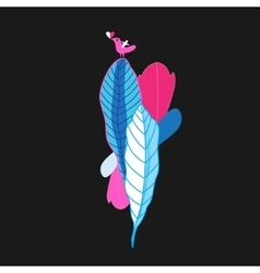 beautiful colorful plants and bird vector image vector image