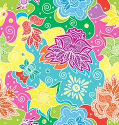 bright color floral seamless vector image vector image