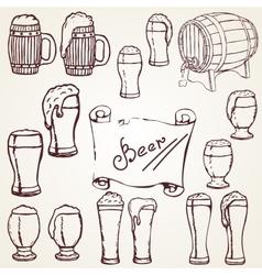 set sketches of beer vector image vector image