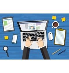workplace - top view - flat design - laptoop blue vector image vector image
