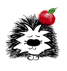 hedgehog with red apple on a white background vector image vector image