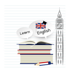 learn english education design on white paper vector image