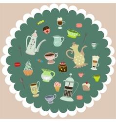 tea mugs cakes coffee pots vector image