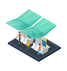 town waiting station isometric 3d icon vector image vector image