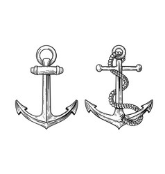 vintage sea anchor with a rope vector image vector image
