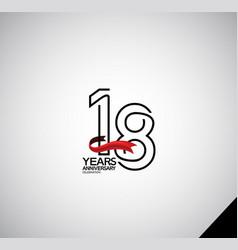18 years anniversary logotype simple design vector