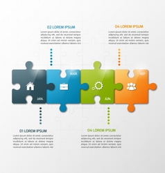4 steps puzzle style infographic template vector