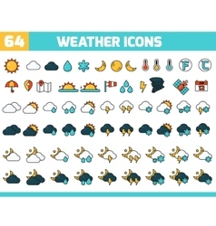 64 color weather icons with sun moon clouds and vector