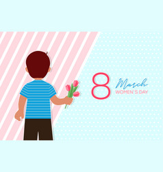 8 march card with boy who gives flowers vector image