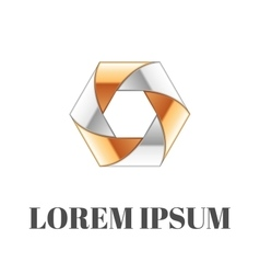 Abstract gold-silver logo vector image