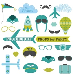 Airplane party set - photobooth props vector