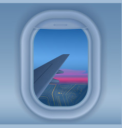 Airplane window at night night city from sky view vector