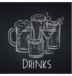 Alcoholic drinks banner chalkboard style vector