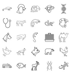 animal care icons set outline style vector image