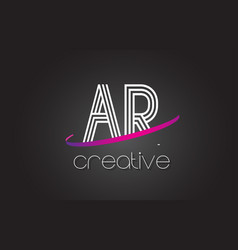 ar a r letter logo with lines design and purple vector image