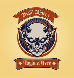 badge devil rider classic vector image
