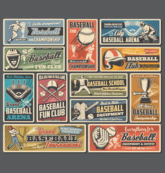 Baseball sport ball bat and player retro posters vector