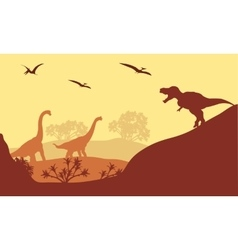 Beautiful scenery dinosaur of silhouette vector