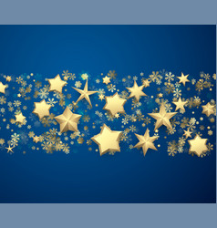 blue background with stars and snowflakes vector image