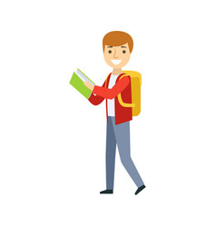 boy walking with backpack reading a book part of vector image